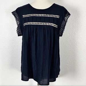 Ro & De Pin tucks Navy blue Top